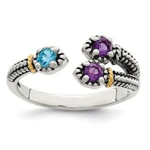 Jewelry - Sterling Silver 14K Amethyst Blue Topaz Trio Ring
